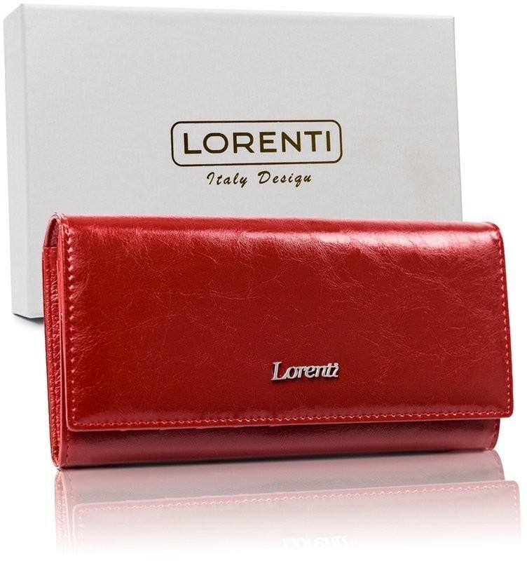 Lorenti Lorenti duży czerwony portfel damski skóra RFID