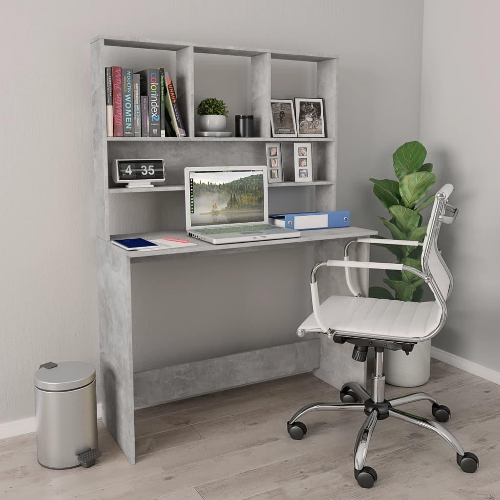 vidaXL vidaXL Biurko z półkami, betonowa szarość, 110x45x157 cm