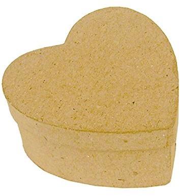 Decopatch Art déco Patch bt001o Box kwadratowy kształt z fotohalterung z kartonu z masy papierniczej, 7x 7x 7cm, do ozdabiania, nadaje się idealnie do Twoich ozdoba do mieszkania, brązowy serce BT502O
