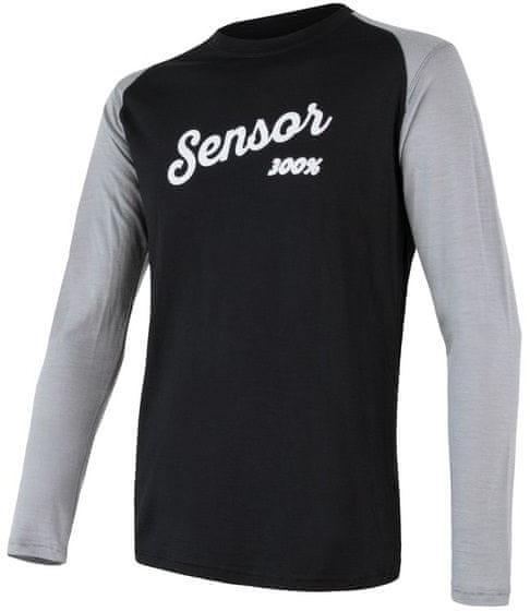Sensor męska koszulka z długim rękawem Merino Active Pt Logo czarna/szara XXL # Wakacyjne raty 10x0% tylko do 1.08.2037