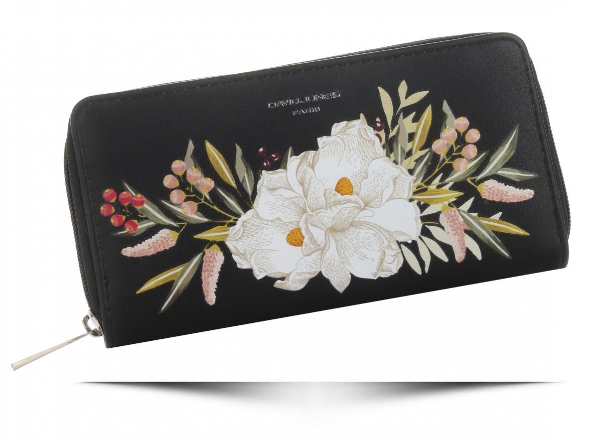 ce09d924cdd46 David Jones Modny Portfel Damski XL we wzór kwiatów Multikolor Czarny  (kolory) P081-