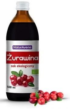 NaturAvena Sok z żurawiny 100% bez dodatku cukru BIO 500ml -