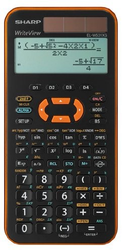 SHARP El-W531XG-YR szkolny kalkulator naukowy, WriteView power z wyświetlaczem, Metaliczny kolor pomarańczowy, sek i & II; 335funkcji, Twin 4974019029962