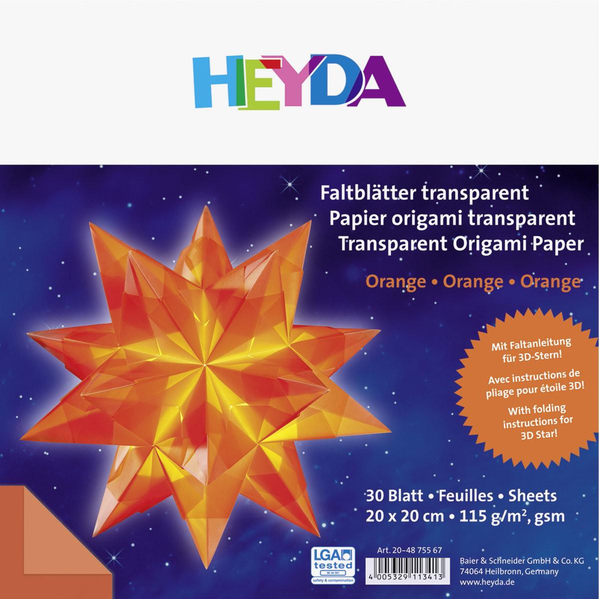 Heyda papier do origami transparentny, czerwony, 30 arkuszy