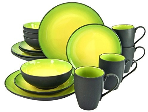 Creatable 20220 seria, Hot Green, zestaw zastawa stołowa serwis łączony 16-częściowy, kamienia, wielokolorowa, 34 x 31.5 x 33 cm, jednostek 20220