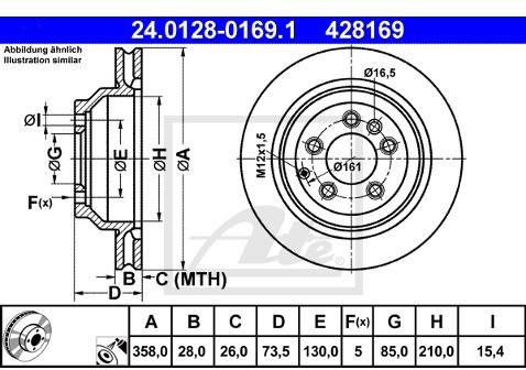 ATE TARCZA HAM 24.0128-0169.1 AUDI Q7 3.0TDI, 3.6FSI, 4.2FSI 06-, 4.2TDI 07- TYŁ  24.0128-0169.1