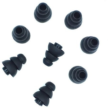 Xcessor Triple Flange zatyczki do uszu z wysokiej jakości silikonu, kompatybilne z większością słuchawek dousznych, 4 pary, mały, czarny CG35162