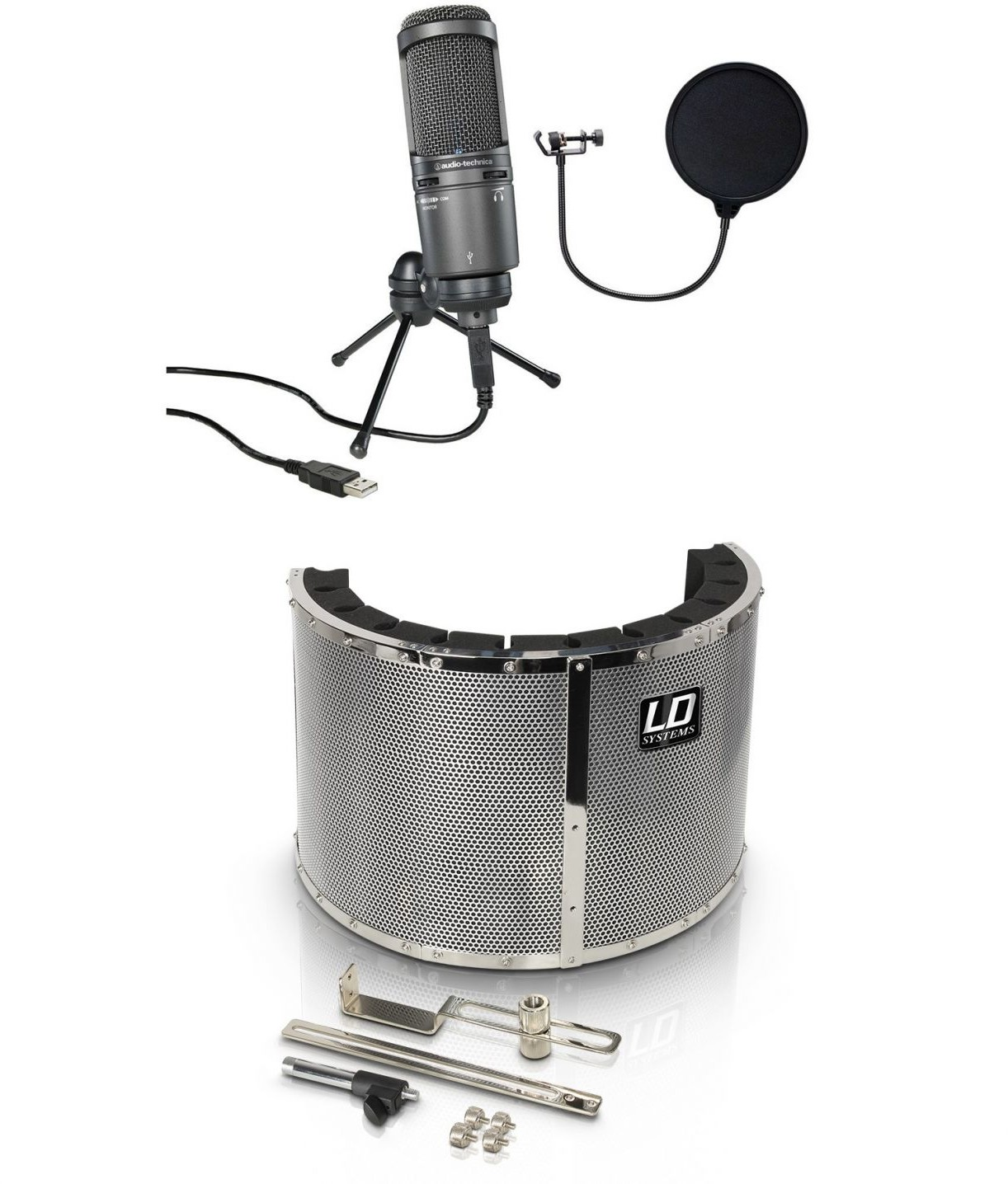 Audio Technica AT2020USB+ - mikrofon studyjny + pop filtr + ekran akustyczny