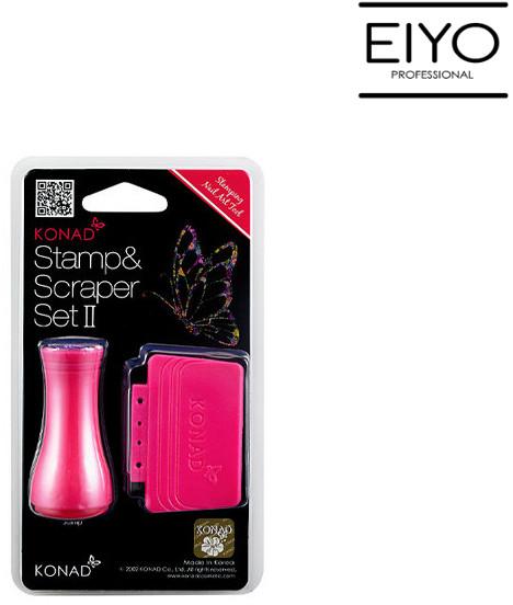 Konad Czyścik+stempel krótki pojedyncza końcówka Stamp&Scraper Set II