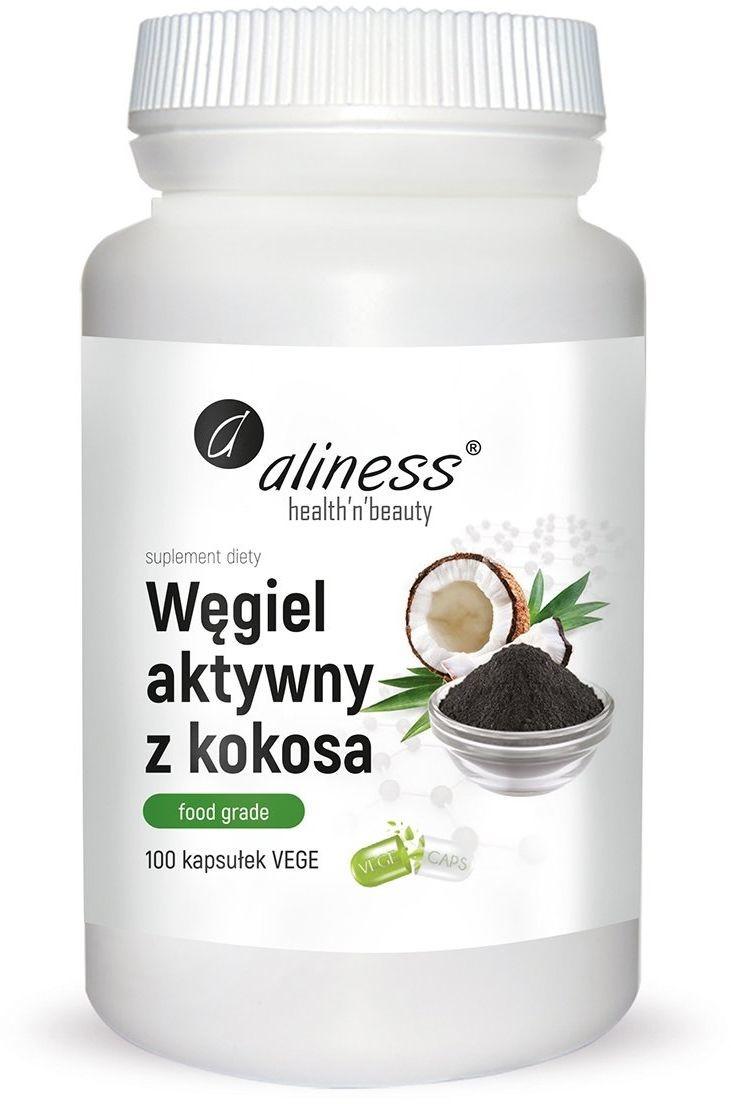 Aliness Węgiel Aktywny z Kokosa Spożywczy FOOD GRADE 300 mg (100 kaps) Aliness ali-116