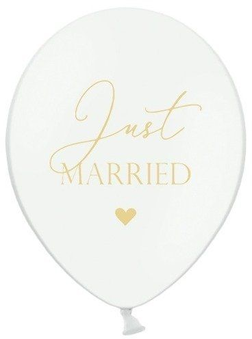 Partydeco Balony weselne Just Married białe 6 sztuk SB14P-237-008-6 SB14P-237-008-6