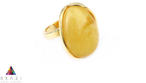 Brazi Druse Jewelry Pierścionek Bursztyn złoto