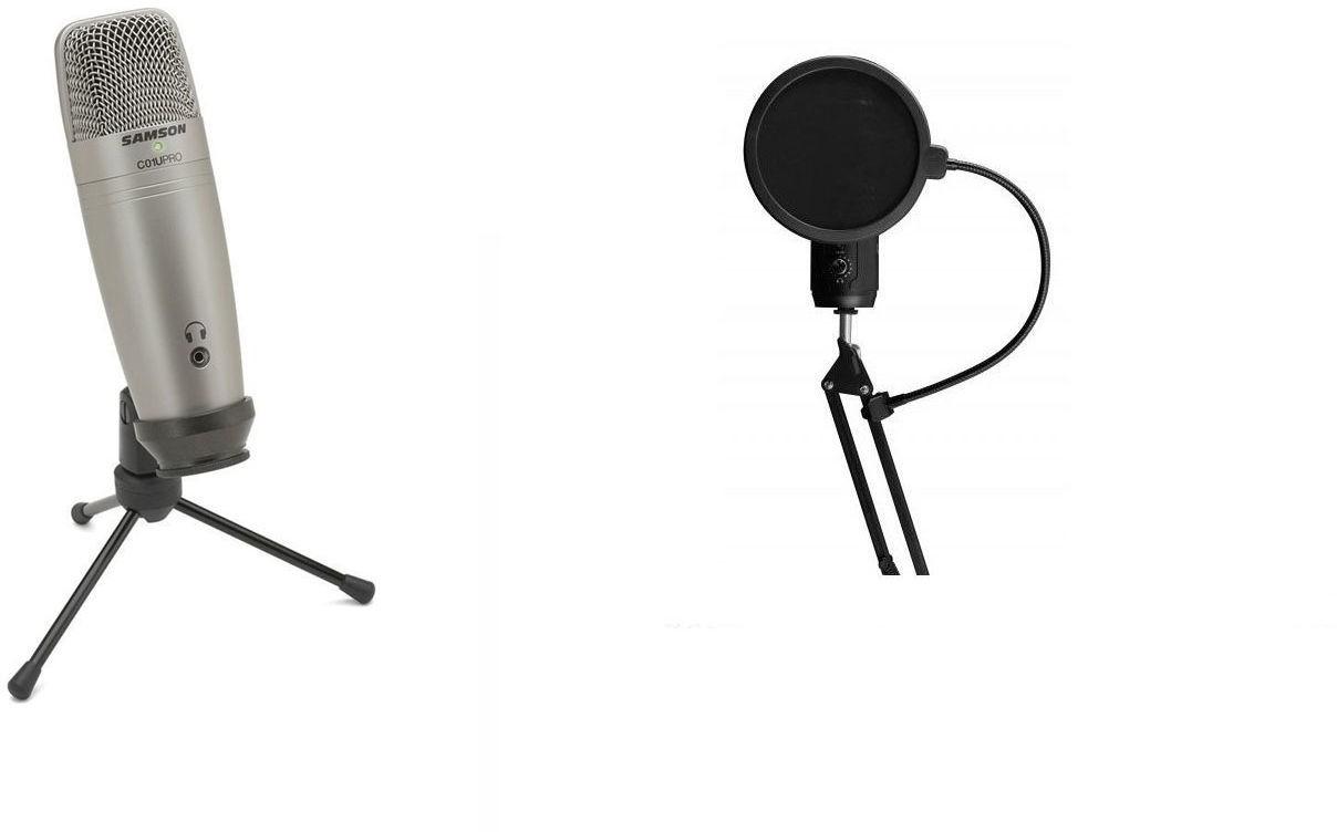 Samson C01U USB PRO - mikrofon studyjny + pop filtr