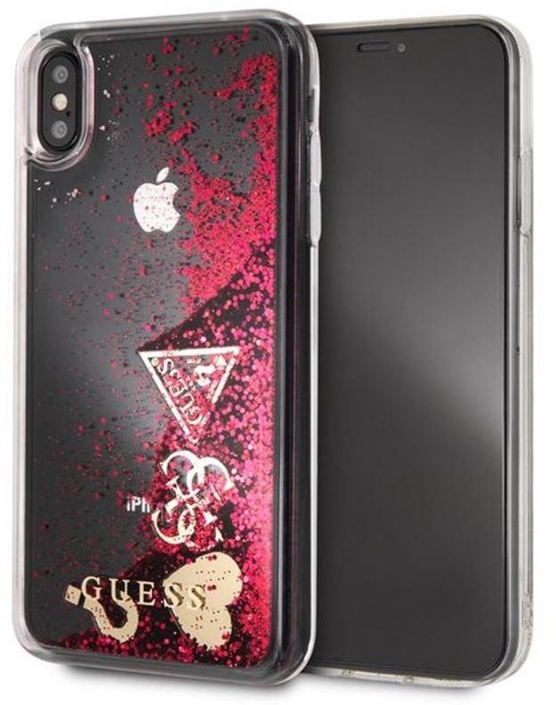 Guess Liquid Glitter Hearts - Etui iPhone 8 / 7 (malinowy) GUHCI8GLHFLRA