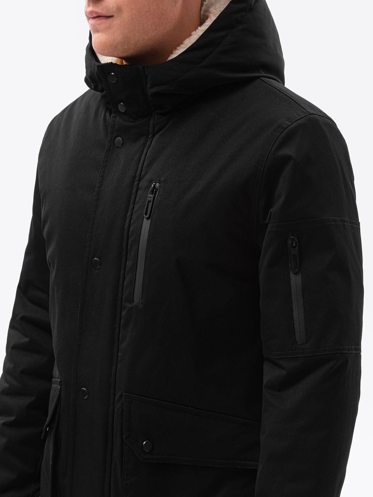 Ombre Kurtka męska zimowa C517 - czarna