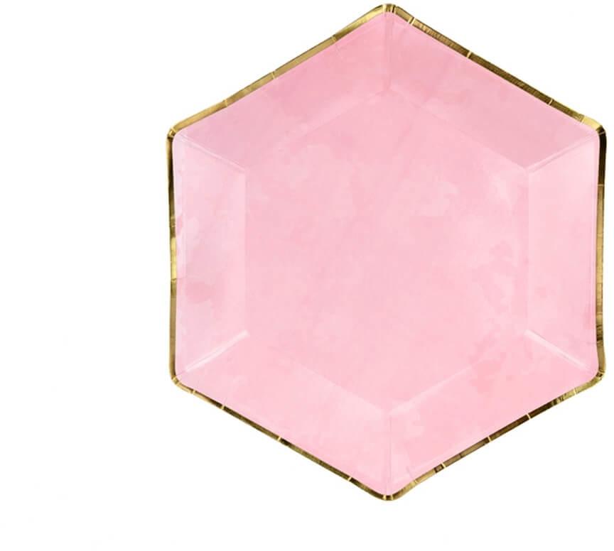 Party Deco Talerzyki różowe ze złotą obwódką - 23 cm - 6 szt. TPP32