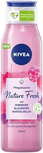 NIVEA Nature Fresh pielęgnujący żel pod prysznic malinowy (300 ml), delikatnie oczyszczający żel pod prysznic z formułą bez mikroplastiku, wegańska pielęgnacja pod prysznic o owocowym zapachu