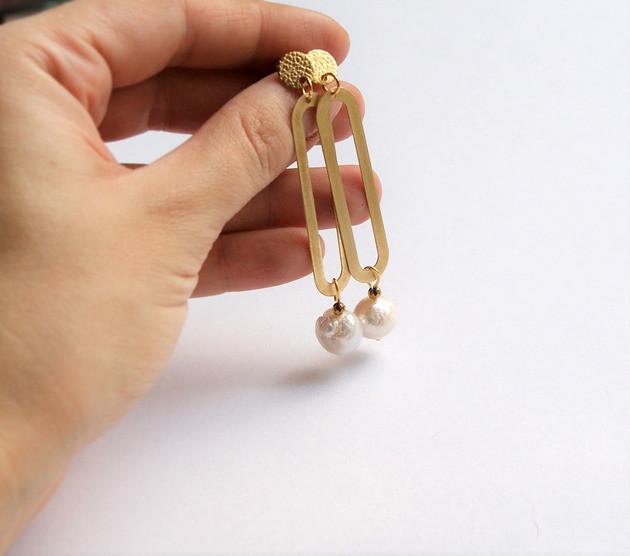 kaktusia designerskie kolczyki z perłami