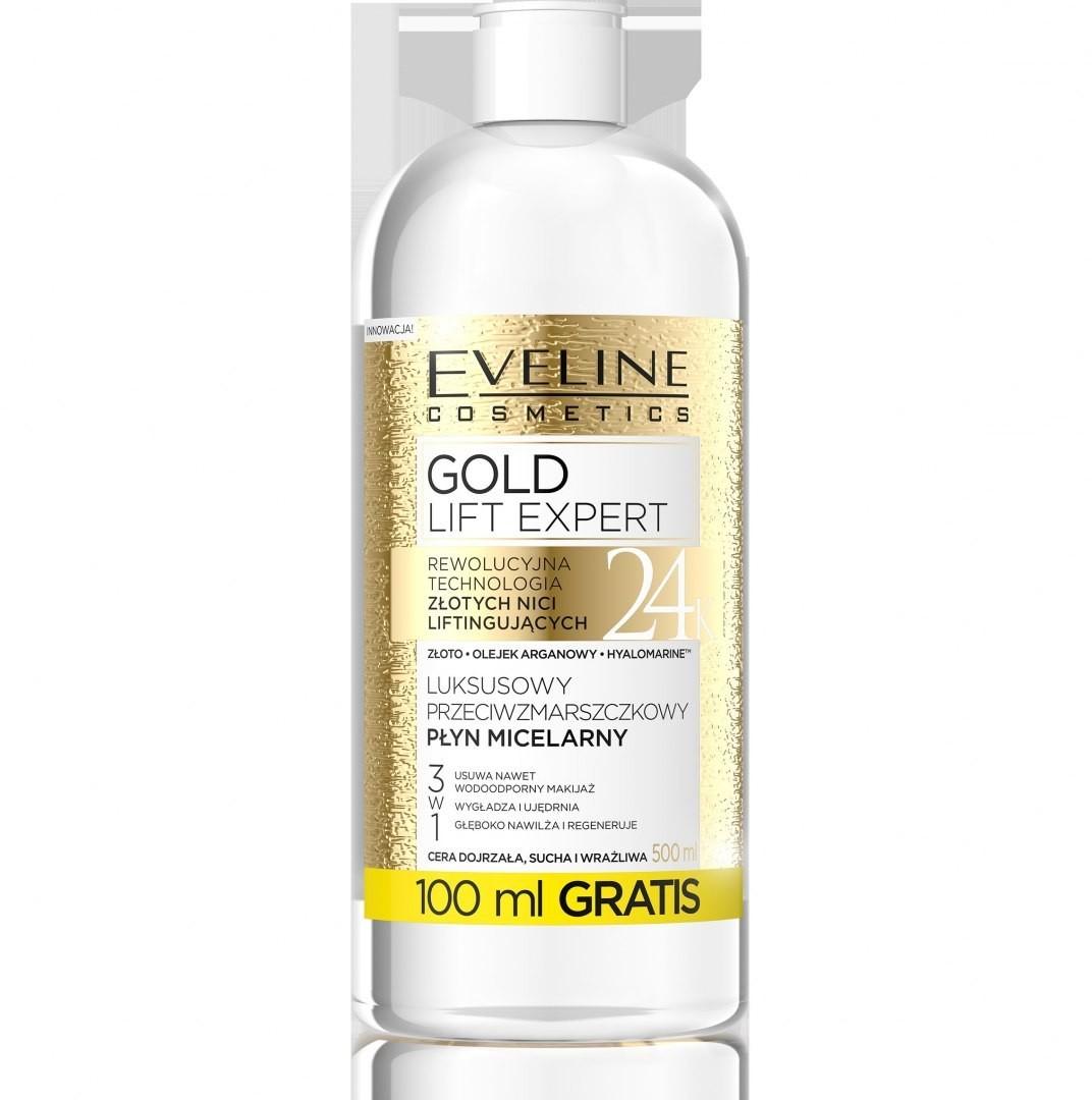 EVELINE Eveline Gold Lift Expert Luksusowy Przeciwzmarszczkowy Płyn micelarny 3w1 500ml 080128