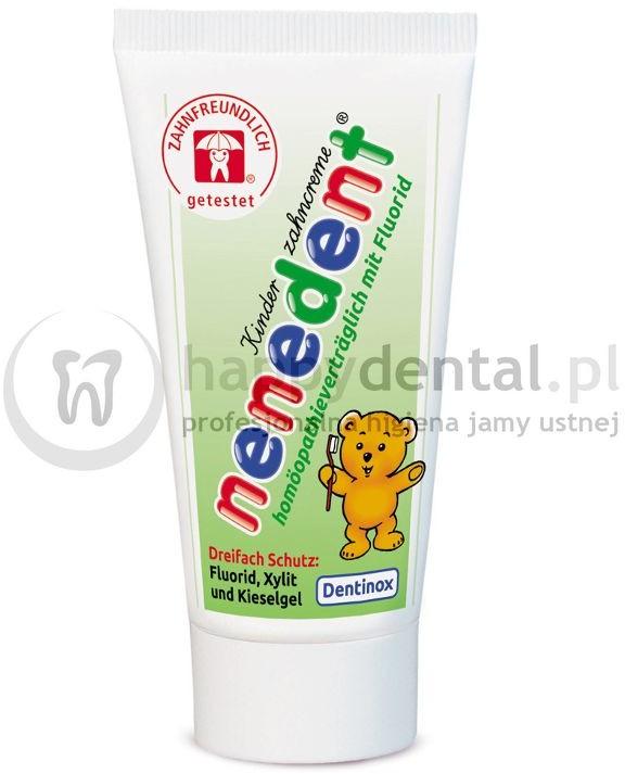 Dentinox Ges NENEDENT Homeopatyczna pasta 50 ml - Homeopatyczna pasta do zębów w fluorem o smaku jabłkowo-bananowym // (PROMOCJA!!! DATA WAŻNOŚCI 03.2019)
