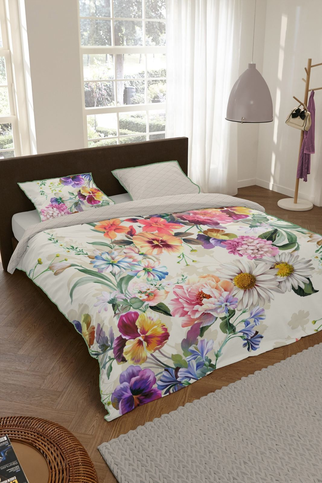 Home Home oliwkowy dwustronna pościel na łóżko jednoosobowe Novara Petrol 140x200cm 9337-K