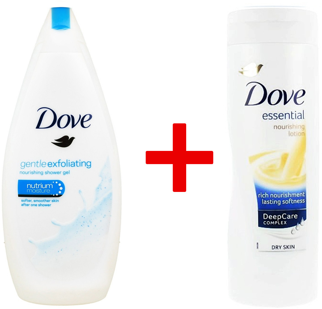 Dove 1+1 Body Wash Żel Pod Prysznic Gentle Exfoliating 500ml + Balsam Do Ciała Essential DeepCare Complex 400ml