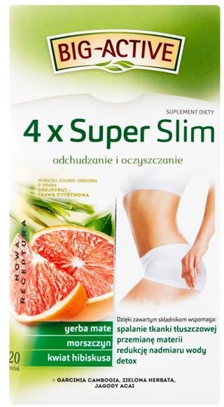 BIO-ACTIVE Big-Active 4 x Super Slim Herbatka ziołowo-owocowa Suplement diety (40 g (20 x 2 g)
