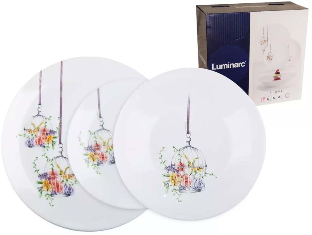 Luminarc Serwis obiadowy Flore 18 elementów białe talerze dla 6 osób