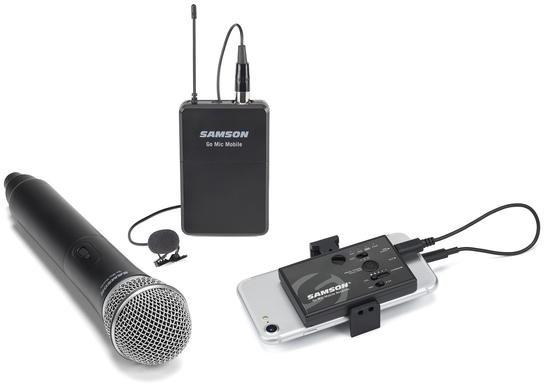 Samson GO MIC MOBILE - 2 kanałowy zestaw bezprzewodowy z mikrofonem do ręki Q8 do urządzeń mobilnych/ kamer 81533