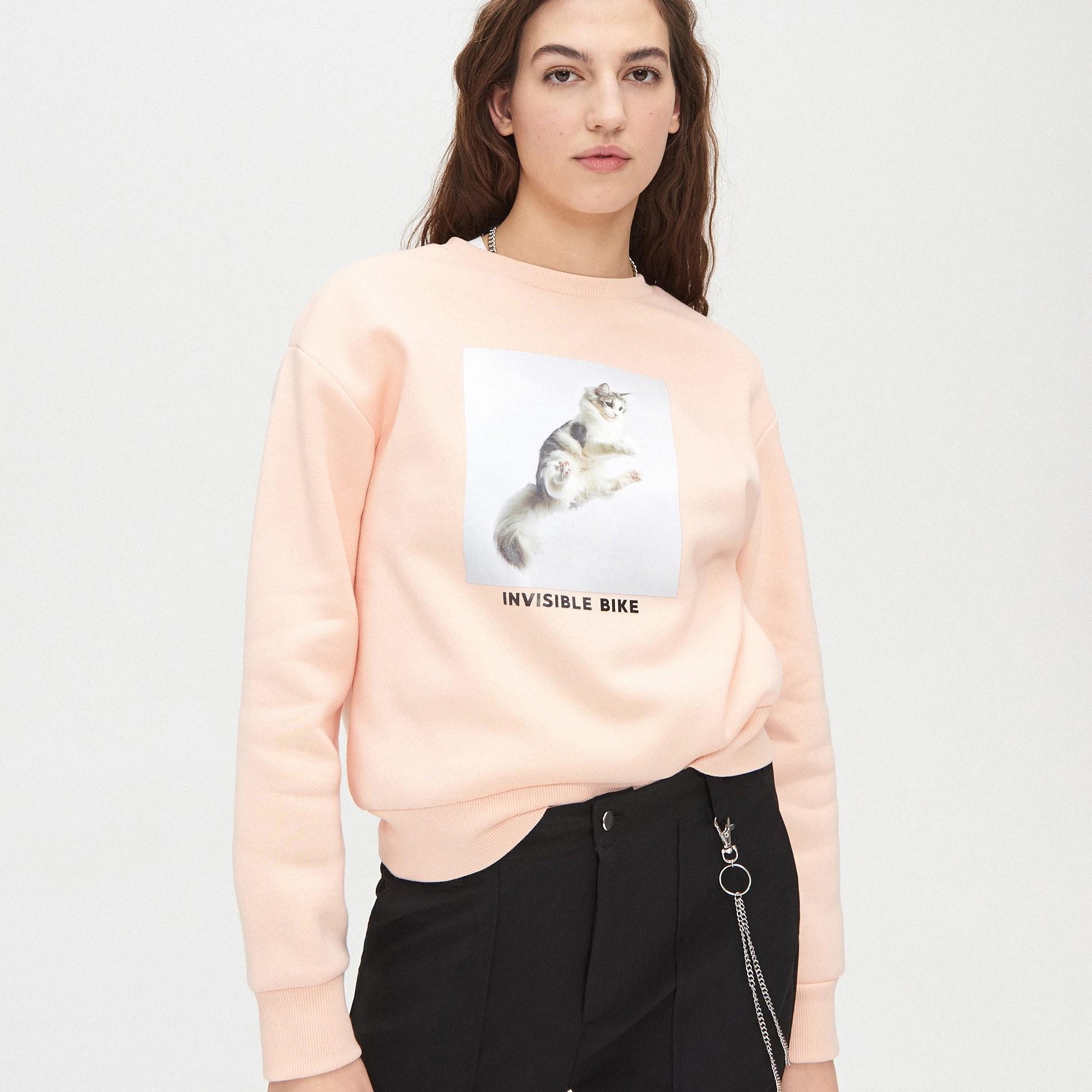 Cropp Cropp - Bluza z kotem - Różowy