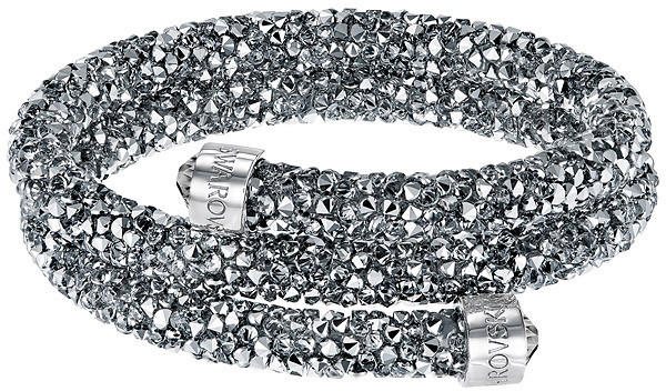 Swarovski Crystaldust Bangle Double, Gray Gray Stainless steel