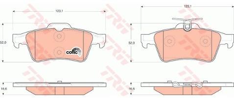 TRW Zestaw klocków hamulcowych, hamulce tarczowe GDB1621