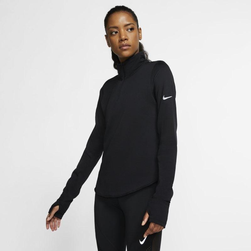 Nike Damska koszulka do biegania z zamkiem 1/2 Sphere - Czerń