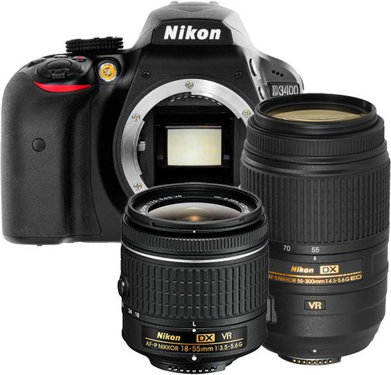 Opinie o Nikon D3400 + AF-P 18-55 VR + 55-300 VR czarny