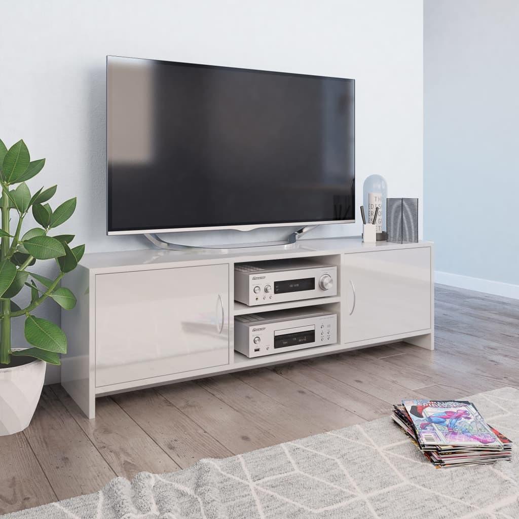 vidaXL vidaXL Szafka pod TV, wysoki połysk, biała, 120 x 30 x 37,5 cm