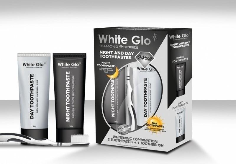 White Glo WHITE GLO Night & Day Whitening Toothpaste 65ml + 65ml + szczoteczka 80311-uniw