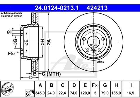 ATE TARCZA HAM 24.0124-0213.1 BMW E65, E66, E67 750I 05-  24.0124-0213.1