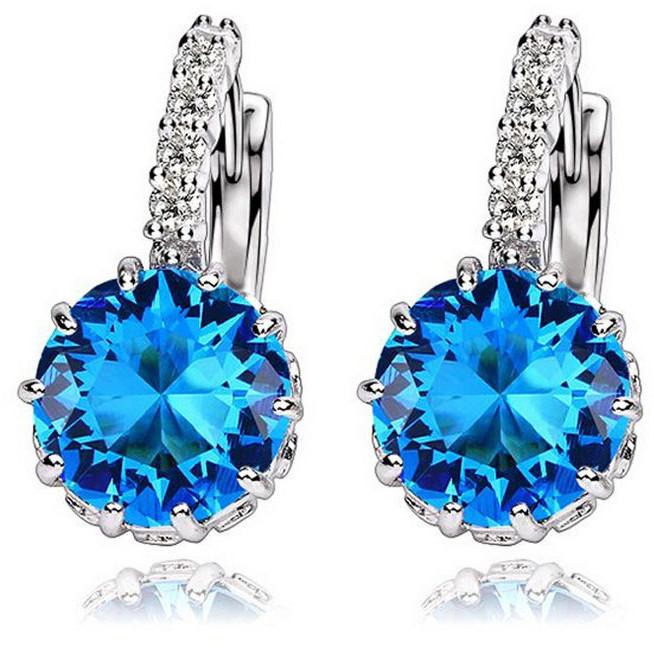 Kolczyki Srebrne Niebieski Kryształ Cyrkonia K052