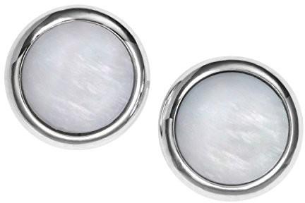Fossil JF00705040 kolczyki damskie CLASSIC ze stali szlachetnej, rodowane, z masy perłowej, białe JF00705040