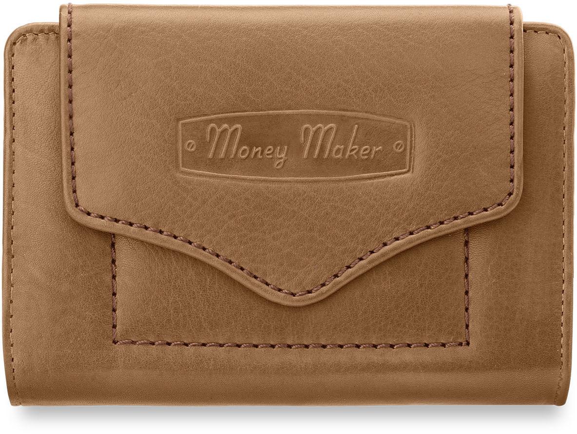 Monkey Maker SKÓRZANA PORTMONETKA PORTFEL DAMSKI BEŻOWY 000555005277