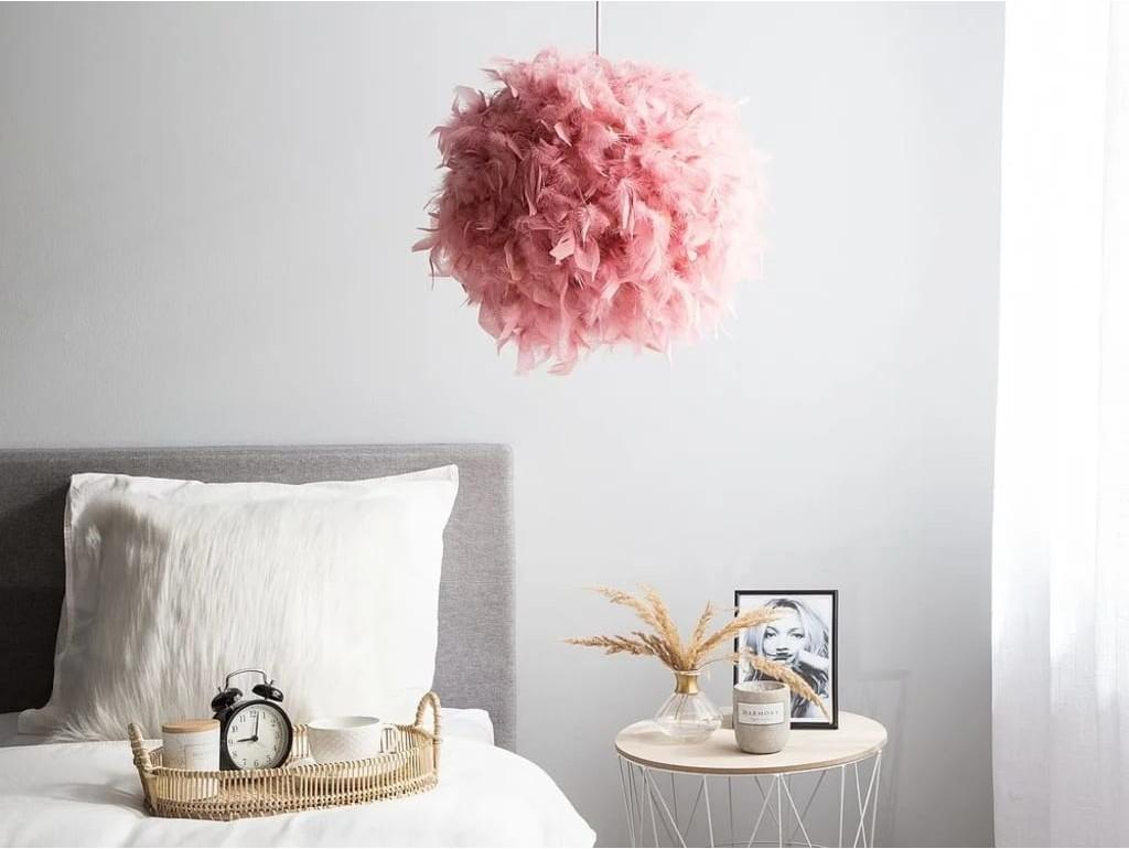 Beliani Lampa wisząca różowa DRAVA