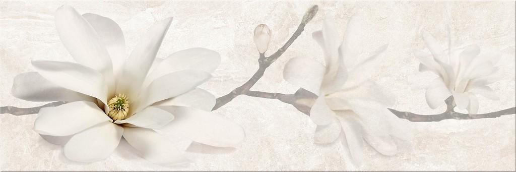 Opoczno płytki Stone Flowers Beige Inserto Listwa   25x75  beżowa żółta szara błyszcząca