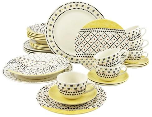 Creatable Pachtwork Serwis obiadowo - kawowy 30el, żółty 17907