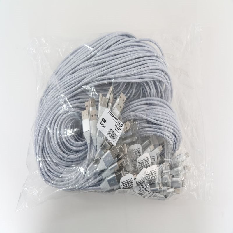 Omega BOA FABRIC CABLE BRAIDED LIGHTNING TO USB 1,5A 118 COPPER POLYBAG OEM 2M SILVER [44180] OUFBB4LS