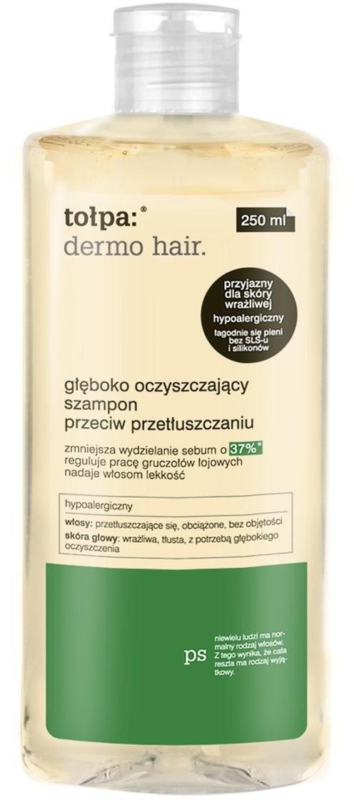 Tołpa dermo hair, głęboko oczyszczający szampon przeciw przetłuszczaniu, 250 ml