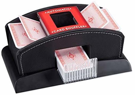 Relaxdays elektryczna mikser do kart, skóra, 2 pokłady, mikser do mieszania kart, mikser do kart, czarny 10023479