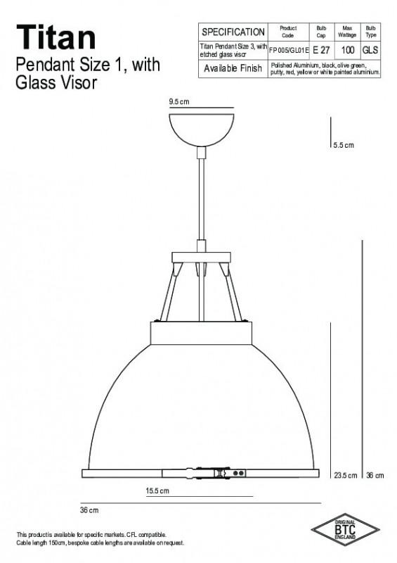 Original BTC Original BTC Titan Size 1 Lampa wisząca 36x36 cm IP20 E27 GLS biała FP005W/GL01E