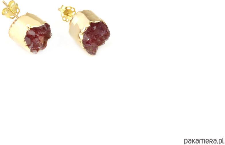 Earrings Druzy Agatu Rubinowe złoto