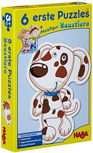 Haba 3902 6 pierwsze Puzzles, zwierząt domowych, puzzle z 6 zwierzątko, motywami dla dzieci od 2 roku życia, figurka z drewna do swobodnego zabawka