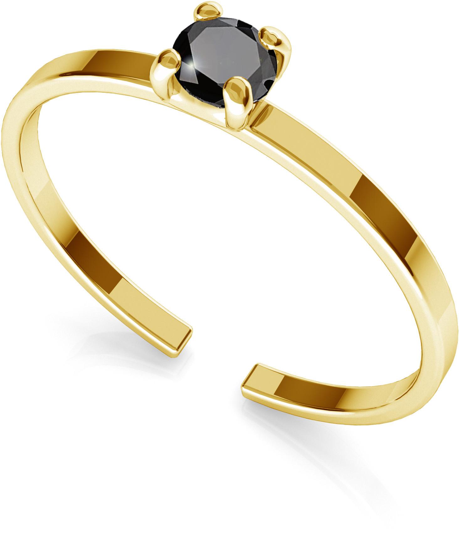 GIORRE Srebrny pierścionek z diamentem 3mm My RING 925 : Kolor pokrycia srebra - Pokrycie Żółtym 24K Złotem